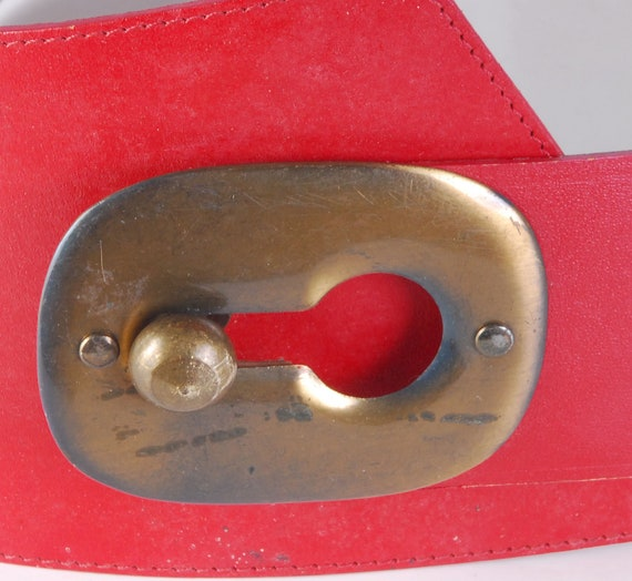Vintage 80s Belt - 80s Wide Belt - 80s Red Leathe… - image 3
