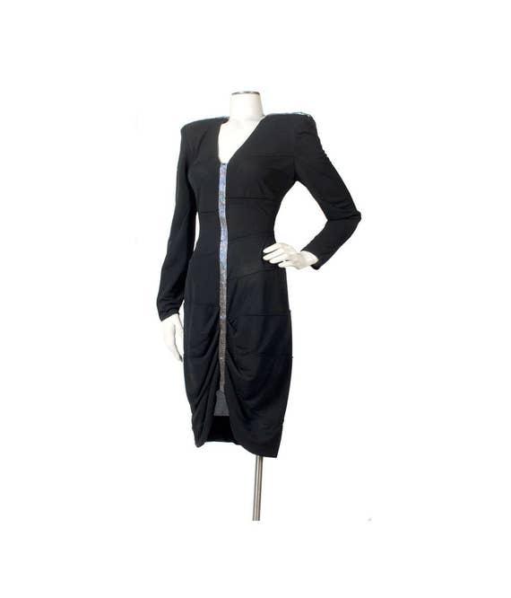 Vintage 80s Dress - 80 Black Dress - 80s  Bandage