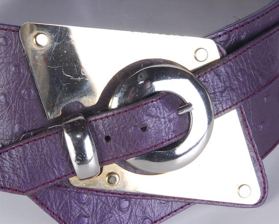 Vintage 80s Belt - 80s Wide Belt - 80s Purple Lea… - image 2