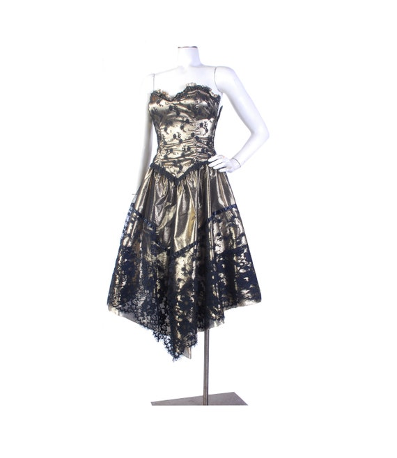 Vintage 80s Dress - 80s Prom Dress -  80s Gold Pro