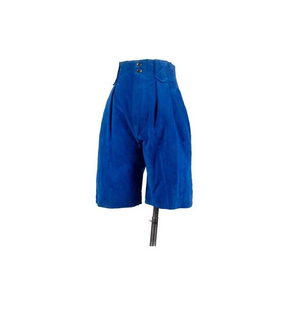 Vintage 90s Shorts - Suede Shorts - Blue Shorts -