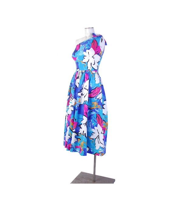 Vintage 80s Dress - One Shoulder Dress - 80s Flora