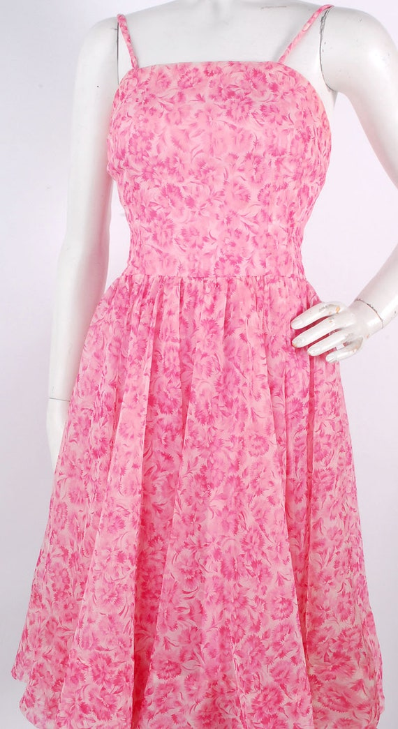 Vintage 50s Dress - 50s Party Dress - 50s Pink Dr… - image 3