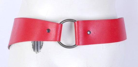 Vintage 80s Belt - 80s Wide Belt - 80s Red Leathe… - image 8