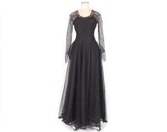 Vintage 40s Ceil Chapman Dress - 50s Ceil Chapman Dress - Black Lace Dress - 40s Gown - 50s Gown - 40s Party Dress - Ceil Chapman Gown