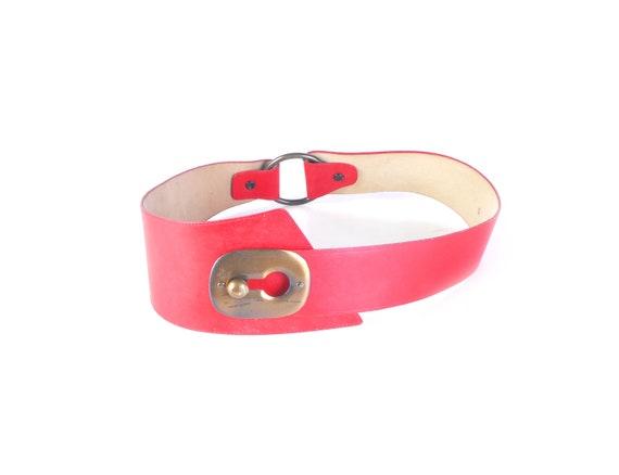 Vintage 80s Belt - 80s Wide Belt - 80s Red Leathe… - image 2