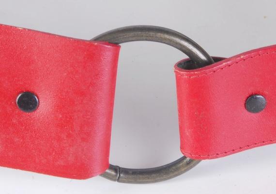 Vintage 80s Belt - 80s Wide Belt - 80s Red Leathe… - image 5