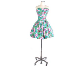 Vintage 80s Dress - 80s Party Dress - 80s Prom Dress - 80s Floral Dress - 80s Strapless Dress - Bubble Hem Dress - Floral Party Dress