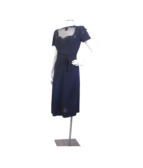 Vintage 40s Dress - 40s Black Dress - 40s Party Dr