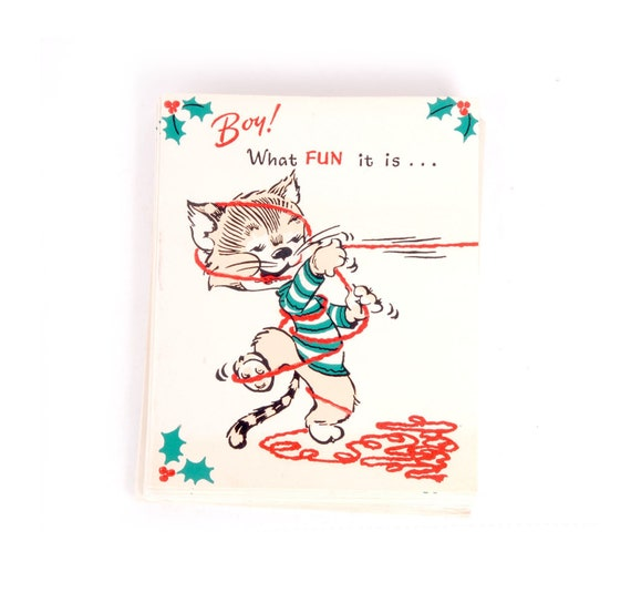 Humorous Christmas Cards.Vintage 40s Christmas Cards Humorous 40s Christmas Card 1940s Christmas Card Lot 40s Risque Card 40s Pin Up Card 40s Cat Card
