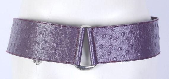 Vintage 80s Belt - 80s Wide Belt - 80s Purple Lea… - image 7