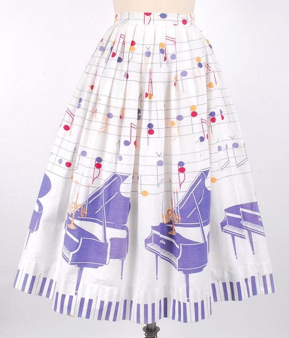 Vintage 50s Dress Set - 50s Novelty Print Skirt T… - image 2