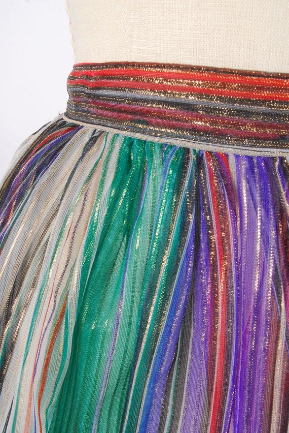 Vintage 70s Skirt - 70s Metallic Gauze Skirt - 70… - image 3