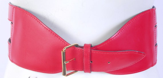 Vintage 80s Belt - 80s Wide Belt - 80s Red Leathe… - image 7