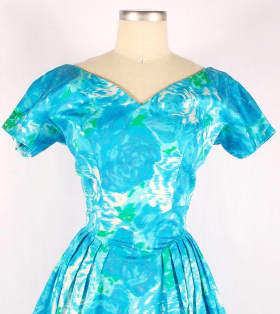 Vintage 50s Party Dress - 50s Floral Dress - 50s … - image 2