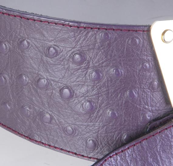 Vintage 80s Belt - 80s Wide Belt - 80s Purple Lea… - image 3