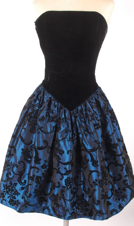 Vintage 80s Dress - 80s Prom Dress - Strapless Pr… - image 3