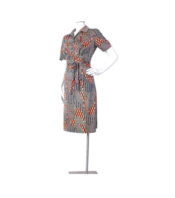 Vintage 70s Dress - 70s Shirtwaist Dress - 70s Geo