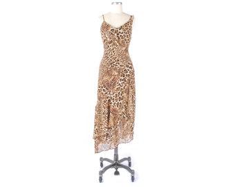 Vintage Y2K Dress - Y2k Bias Cut Dress - Leopard Dress - Slip Dress - Bias Cut Slip Dress - Leopard Slip Dress - 90s Slip Dress - SATC Dress