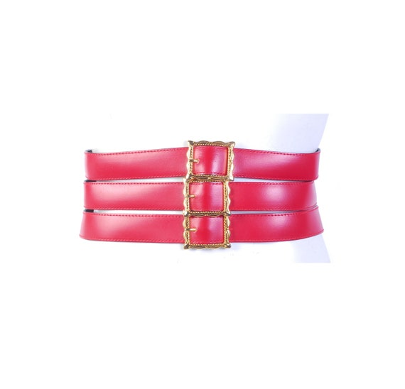 Vintage 80s Belt - 80s Wide Belt - 80s Red Leathe… - image 1