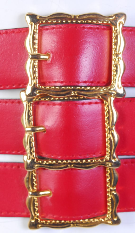 Vintage 80s Belt - 80s Wide Belt - 80s Red Leathe… - image 6