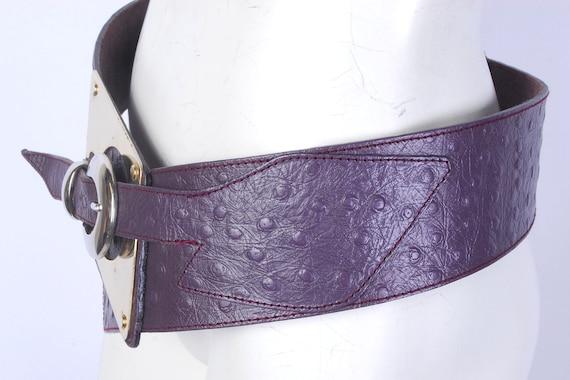 Vintage 80s Belt - 80s Wide Belt - 80s Purple Lea… - image 6
