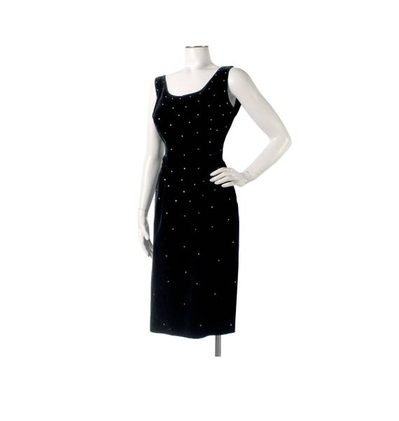 Vintage 50s Dress - 50s Black Velvet Dress - 50s H