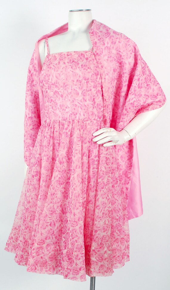 Vintage 50s Dress - 50s Party Dress - 50s Pink Dr… - image 2