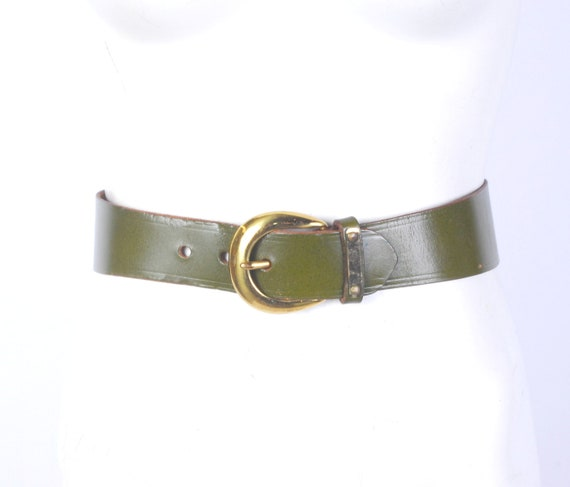 Vintage 50s Belt - 50s Wide Belt - 50s Green Leath