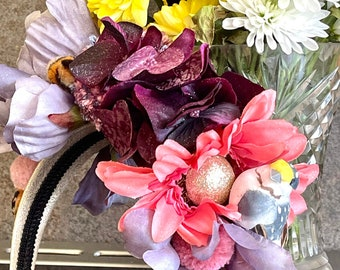 Festival FlowerCrown or Bridesmaid Headband Wedding or Festival or Midsomer Spring flowers in Purple and pinks.