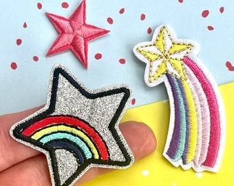 Iron On Patches - Trio of Stars and Rainbows. Ideal for adding to a Denim Jacket or Tote Bag. UK Seller.