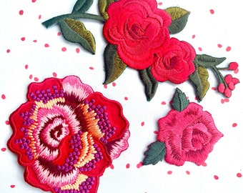 Iron On Patches - Trio of Red Roses. Ideal for adding to a Camo Jacket or Denim Tote Bag. UK Seller.