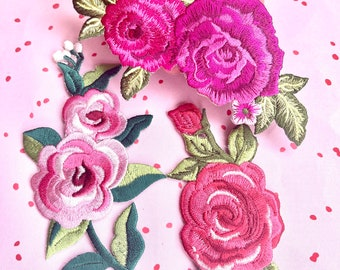 Iron On Patches - Trio of Pink Roses. Ideal for adding to a Camo Jacket or Denim Tote Bag. UK Seller.