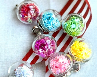 7 Rainbow Mini Christmas Bauble Charms for stitch markers or sewing embellishments or Small Tree decorations. Super cute.