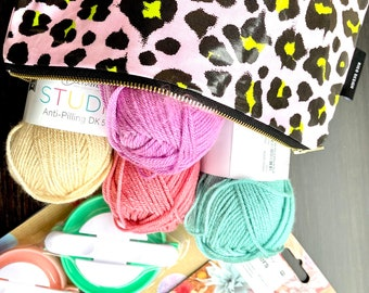 PomPom Making Starter Kit in Leopard Print Pouch includes scissors and Yarn collection. Gift for a friend or Teenager.