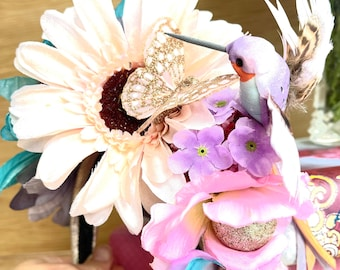 Festival FlowerCrown or Bridesmaid Headband Wedding or Festival or Midsomer Spring flowers in Turquoise and pinks and lilac.