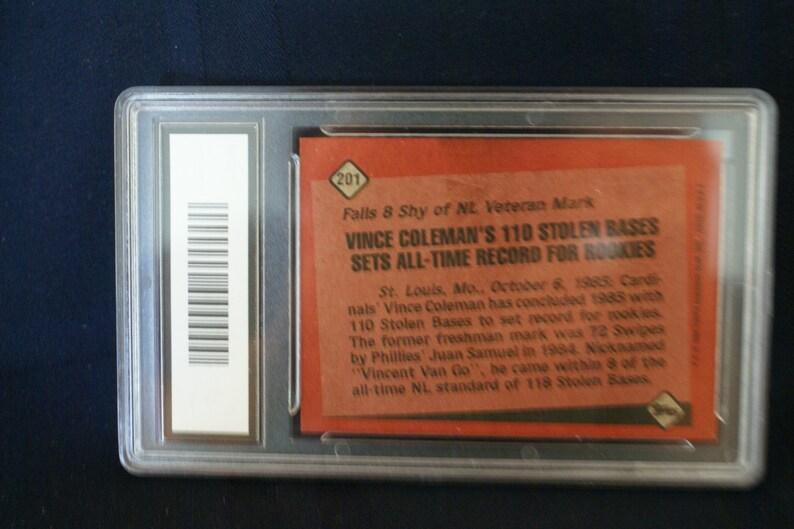 Vince Colemans 1985 Record Breaker Baseball Card 201 For Stolen Bases
