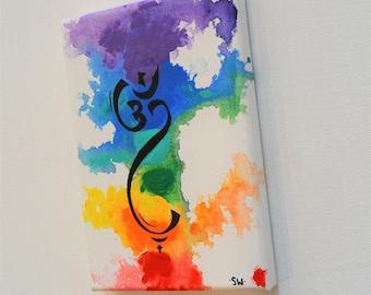 "Om Rainbow Canvas Panel, 5"" x 7"" Original Painting, chakra, energy, yoga, rainbow, ohm, canvas, zen, studio art 1"