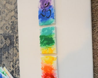 "Om Rainbow Canvas Panels, 5"" x 21"" Original Paintings, chakra, energy, yoga, rainbow, ohm, canvas, zen, studio art"