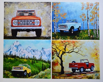"""Early Bronco art prints, set of 4, artist signed 8"""" x 10"""" photo art print, Ford Bronco, gift, present, men, car gifts, man cave"""