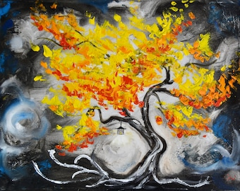 Light up your life, Original Painting, fall tree, asian inspired lantern, 11x14, one of a kind