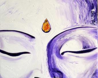 Purple Buddha Face Original Oil Painting
