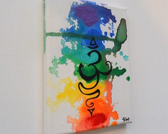 "Om Rainbow Canvas Panel, 5"" x 7"" Original Painting, chakra, energy, yoga, rainbow, ohm, canvas, zen, studio art 3"