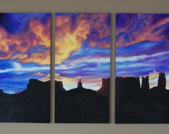 The Heavens Smile on Monument Valley, HUGE Original Oil Painting