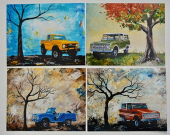"Early Bronco art prints, set of 4, artist signed 8"" x 10"" photo art print, Ford Bronco, gift, present, men"