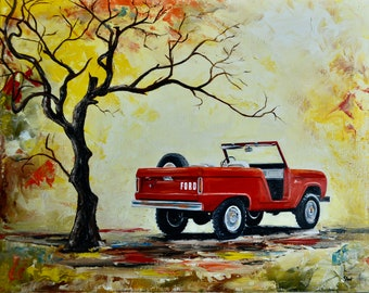 1966 Red, Ford Bronco, Original Oil painting, 16x20, fathers day, gift, christmas, present, men, man, ford, bronco, 1960's, early bronco