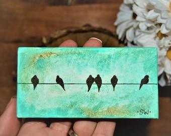 Tiny art, Miniature, Bird on a wire painting, Miniature Original hand painted, Dollhouse Art, American Girl Doll, stocking stuffer, 3x3, 2x4