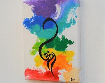 "Om Rainbow Canvas Panel, 5"" x 7"" Original Painting, chakra, energy, yoga, rainbow, ohm, canvas, zen, studio art"