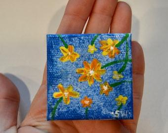 "Tiny art, Miniature, flowers, Miniature Original Painting, Dollhouse Art, American Girl Doll, 2"", yellow and orange"