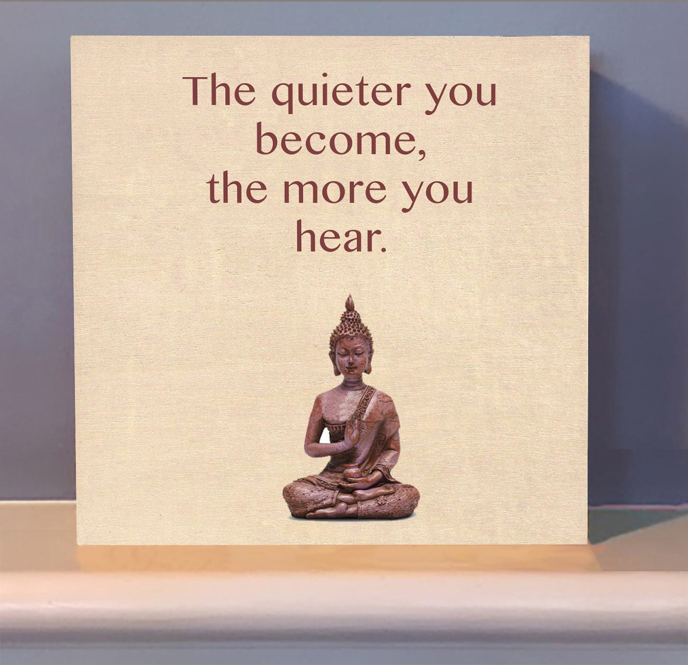 Meditation Buddha Altar Gift Positive Quotes On Wooden Etsy